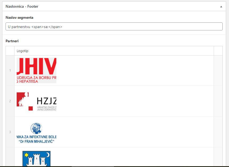 Upload logotipa partnera unutar CMS-a