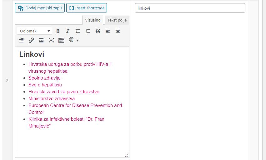 Pozicioniranje linkova podnožja unutar CMS-a
