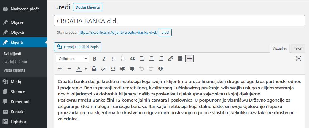 Uređivanje stranice klijenta - opisni tekst