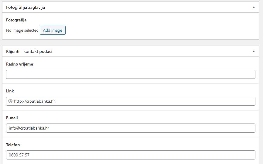 Uređivanje stranice klijenta - kontakt podaci